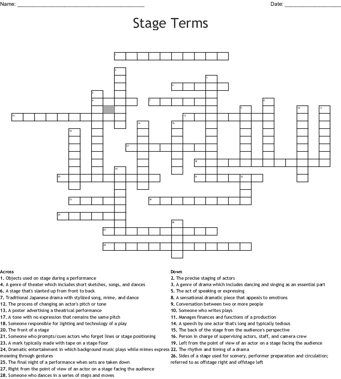 Stage Terms Crossword Wordmint