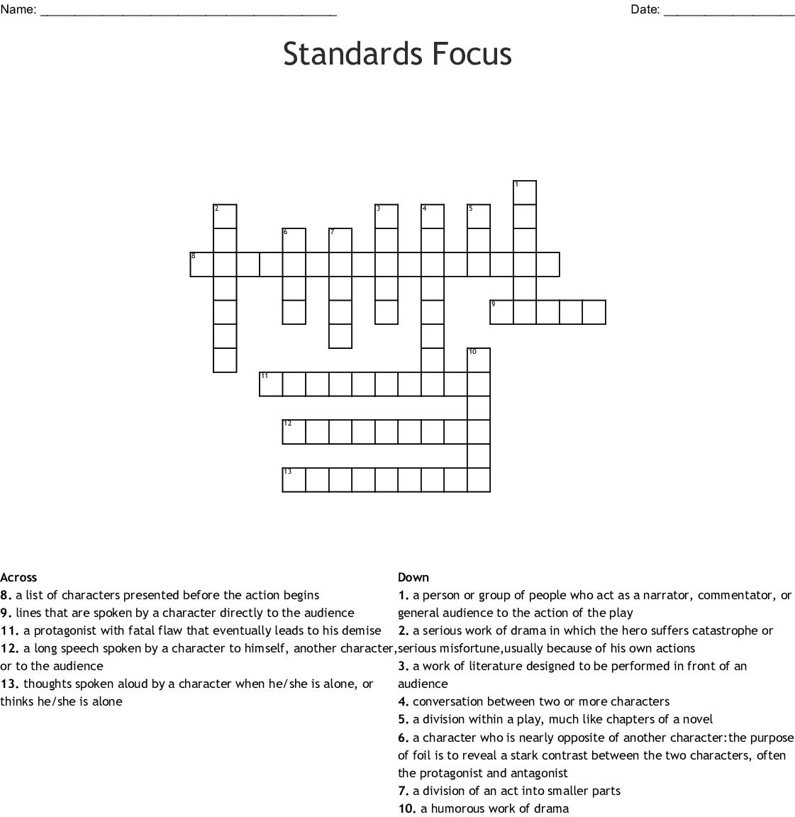 Elements of Drama Crossword - WordMint Universal Themes In Literature Pdf