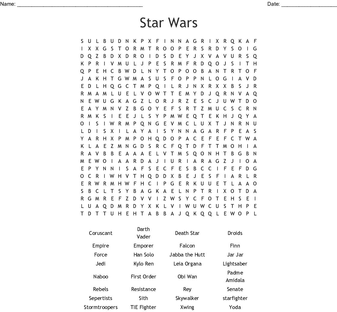 Star Wars Word Search - WordMint