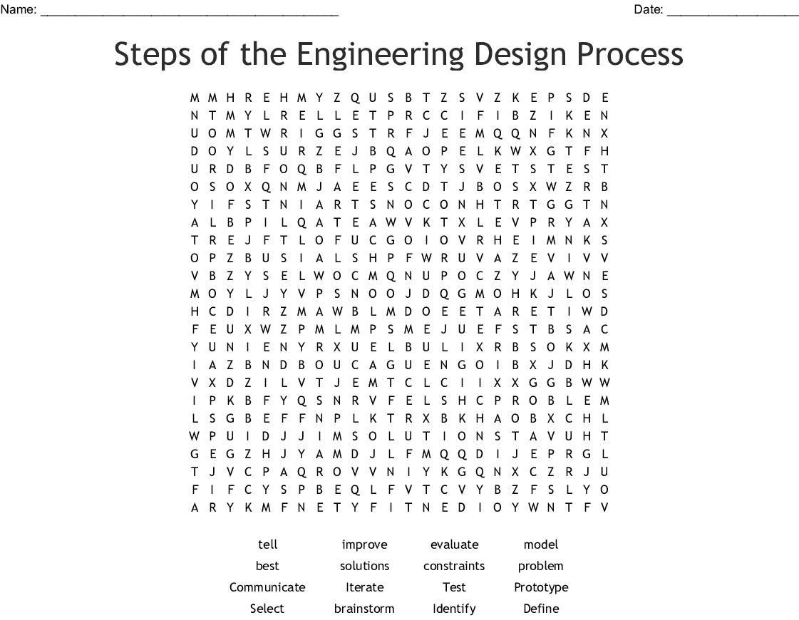 Steps Of The Engineering Design Process Word Search Wordmint