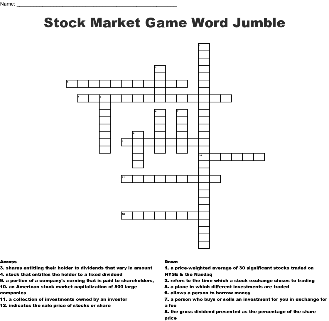 Investing Crosswords Word Searches Bingo Cards Wordmint