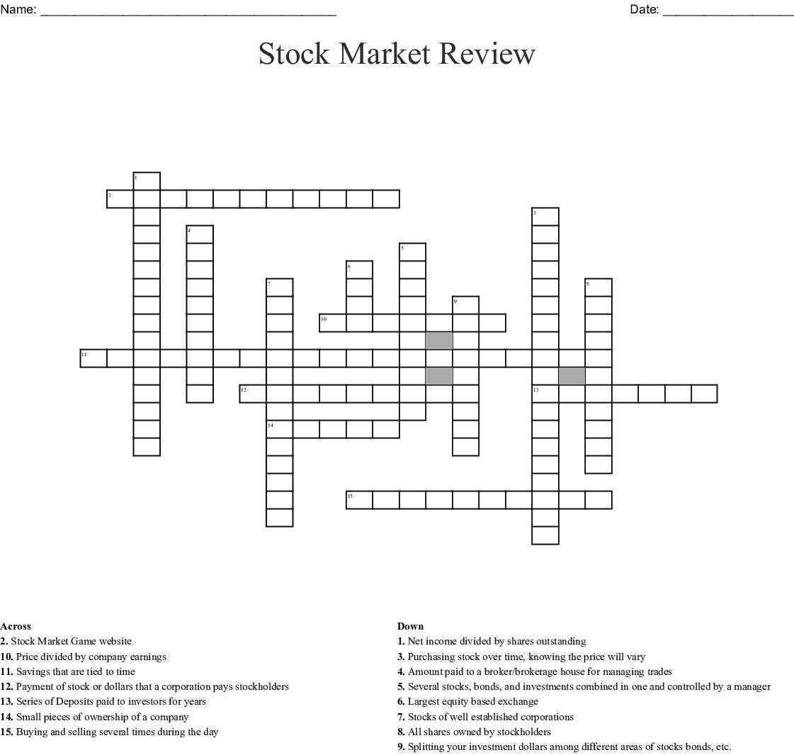 Stock Market Review Crossword Wordmint