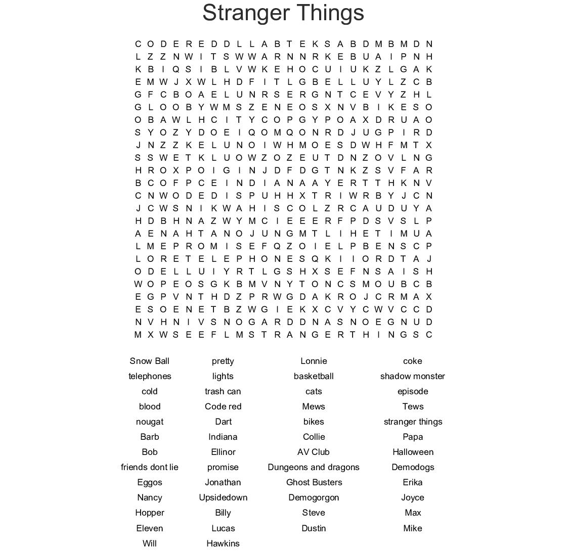 Stranger Things Crossword Wordmint
