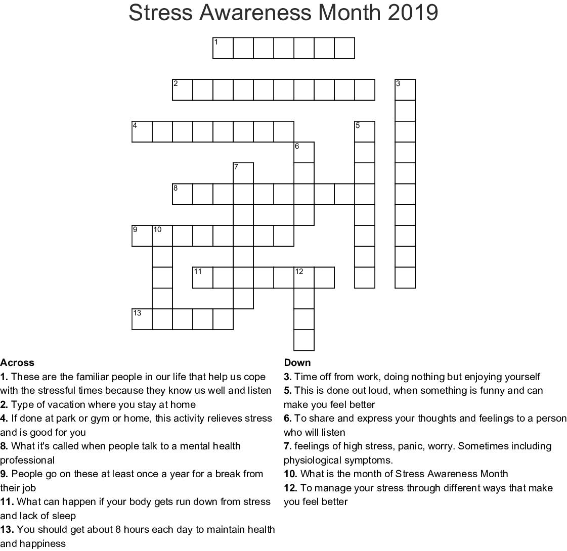 Stress Relief Crossword Wordmint