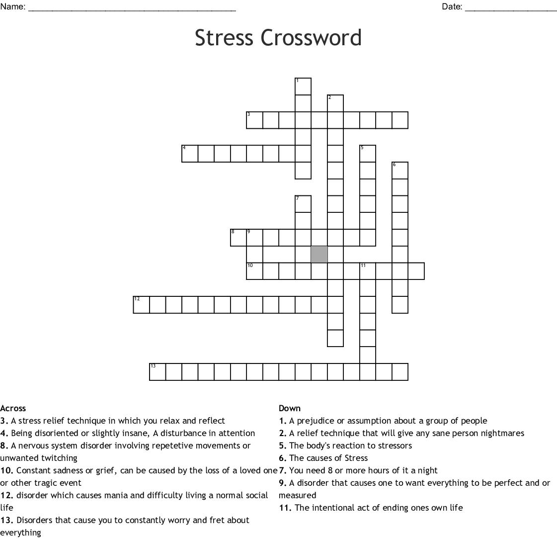 Stress Crossword Wordmint