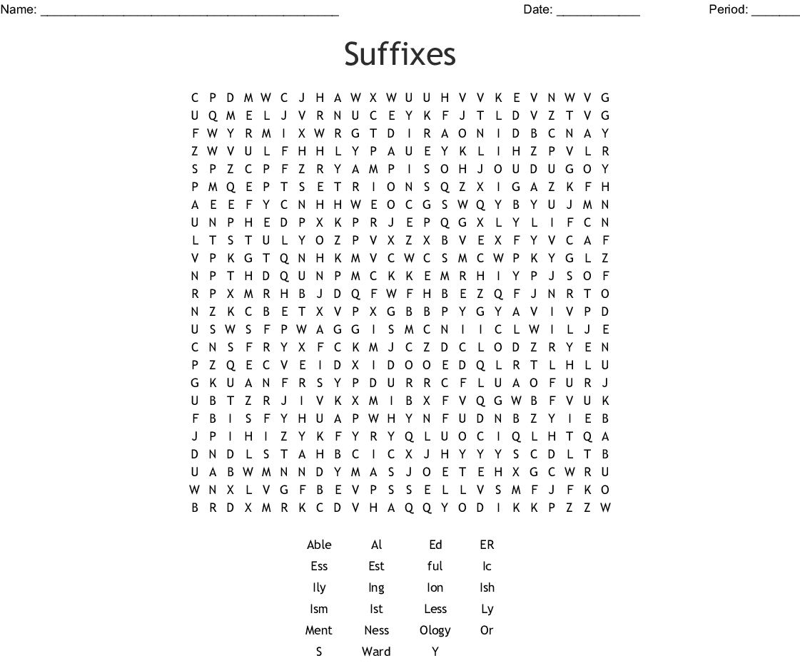 Suffixes Word Search - WordMint