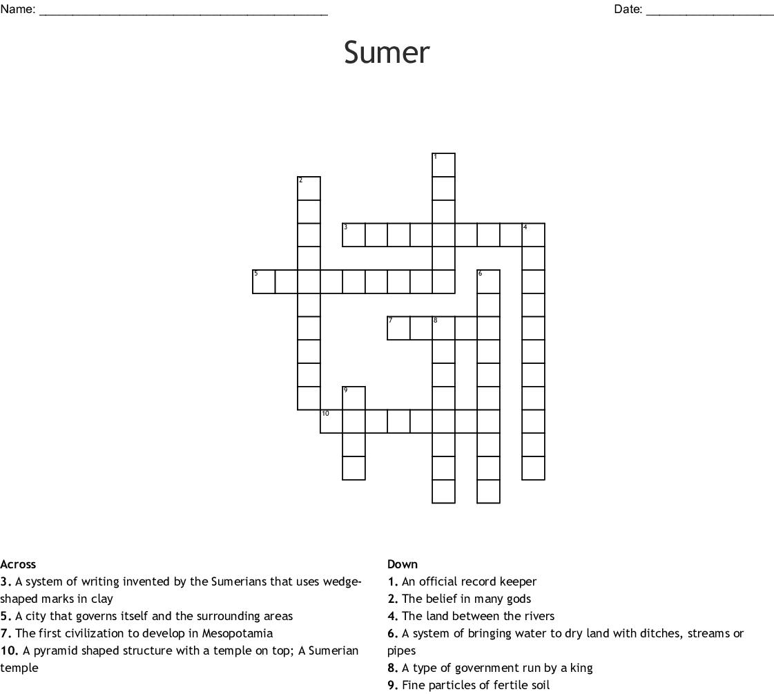 Sumer Crossword - WordMint