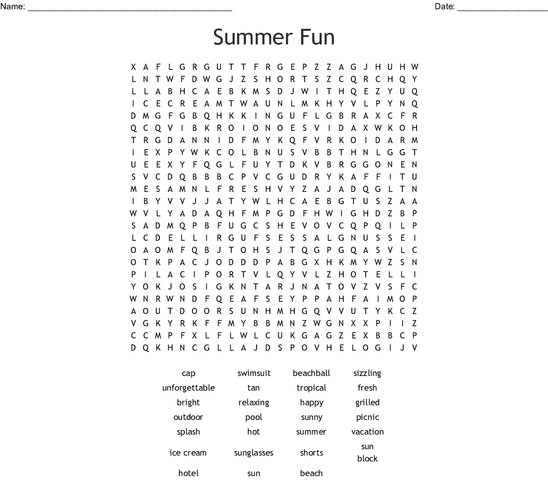 100 summer vacation words Word Search - WordMint