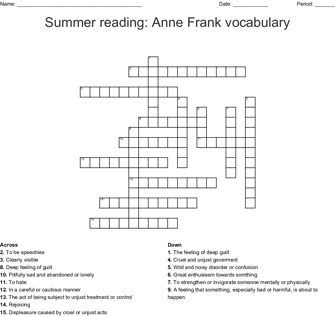 The Diary Of Anne Frank Act 1 Spelling Vocabulary Word Search Wordmint