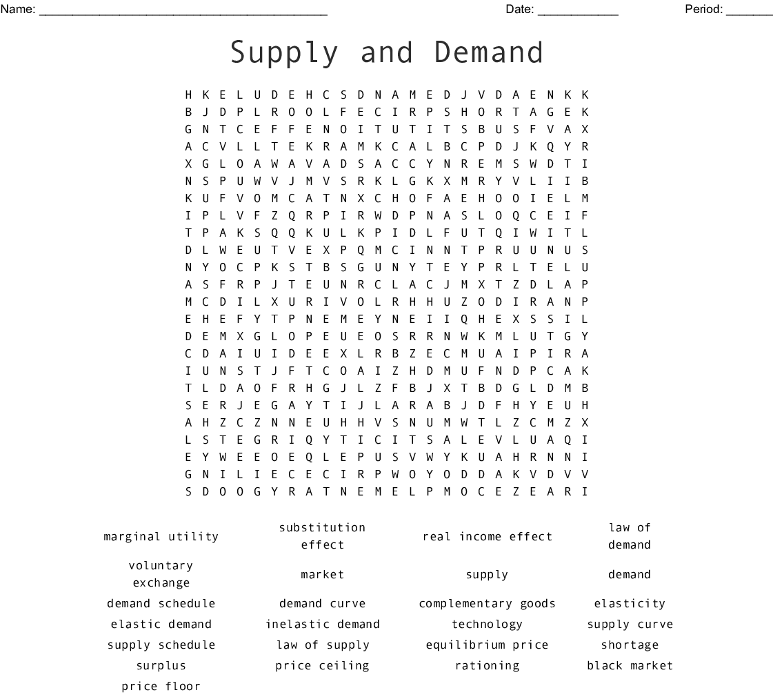 Supply And Demand Word Search Wordmint