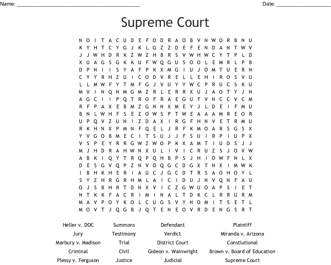 LANDMARK SUPREME COURT CASES Word Search - WordMint