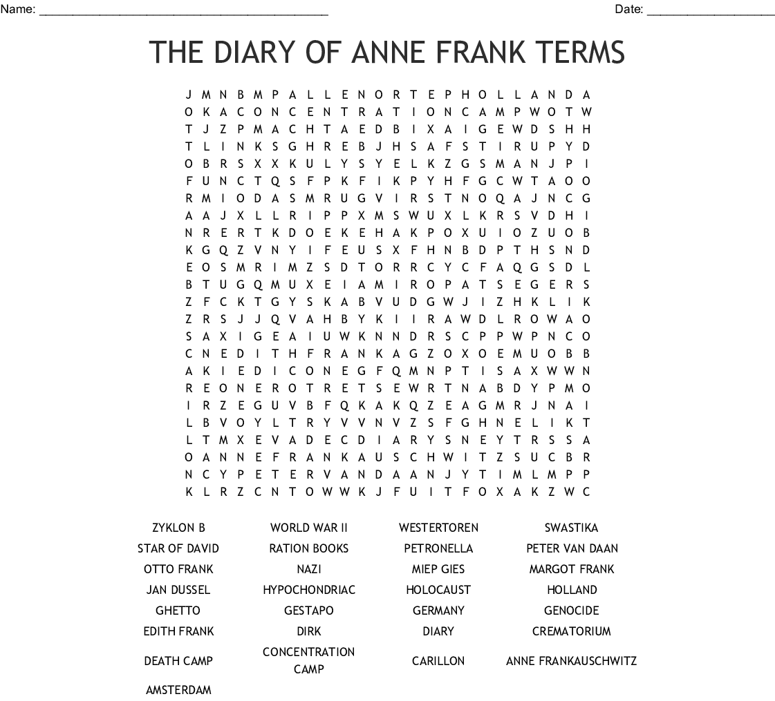 Anne Frank: The Girl Who Lived Forever Word Search - WordMint