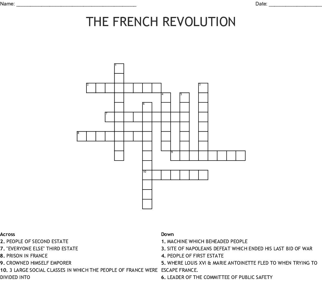 The French Revolution Crossword Wordmint