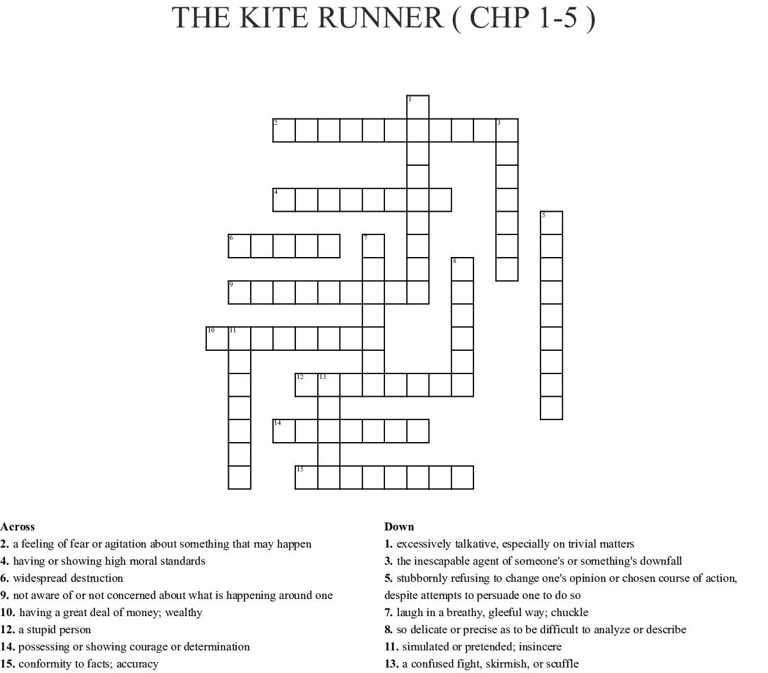 The Kite Runner Chp 1 5 Crossword Wordmint