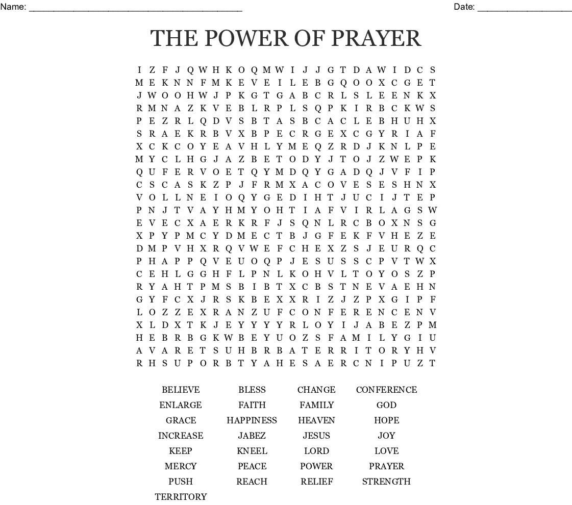 picture relating to Prayer of Jabez Printable identify THE Energy OF PRAYER Phrase Appear - WordMint