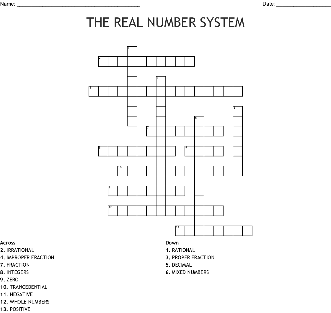 The Real Number System Crossword Wordmint