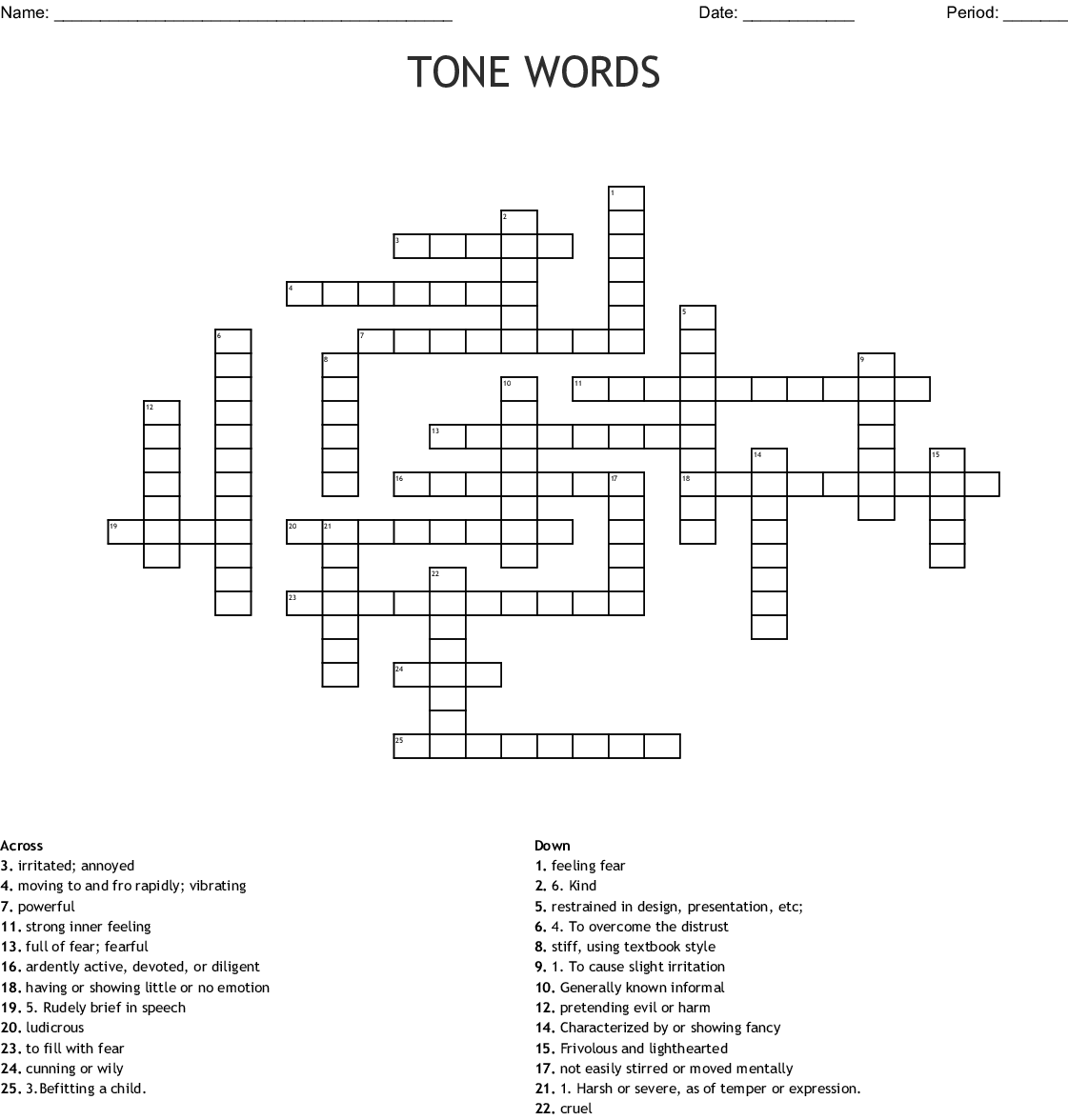 Tone Words Crossword Wordmint