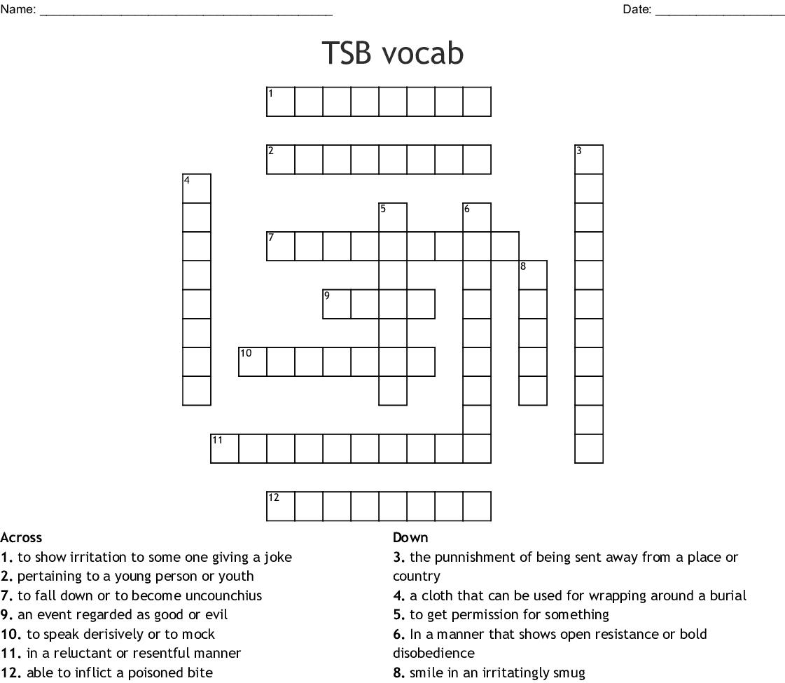 Touching Spirit Bear Vocabulary Crossword Puzzle Wordmint