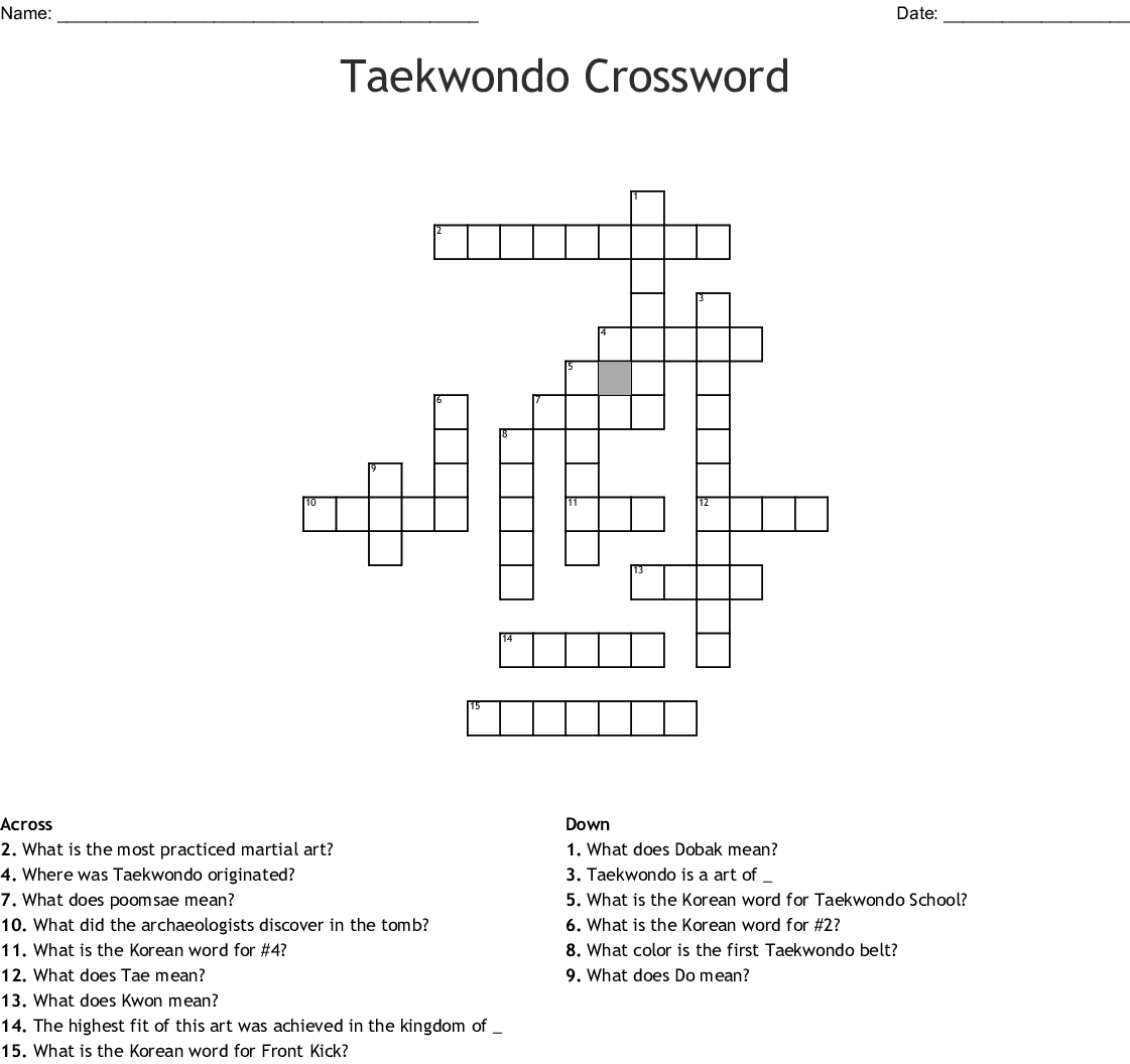 Tae Kwon Do Word Search Wordmint