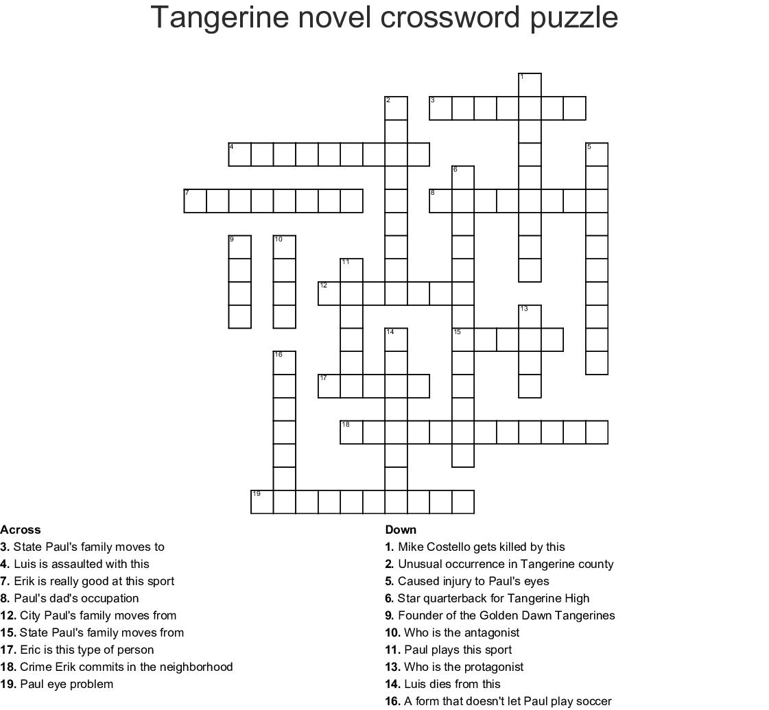 Tangerine novel crossword puzzle - WordMint