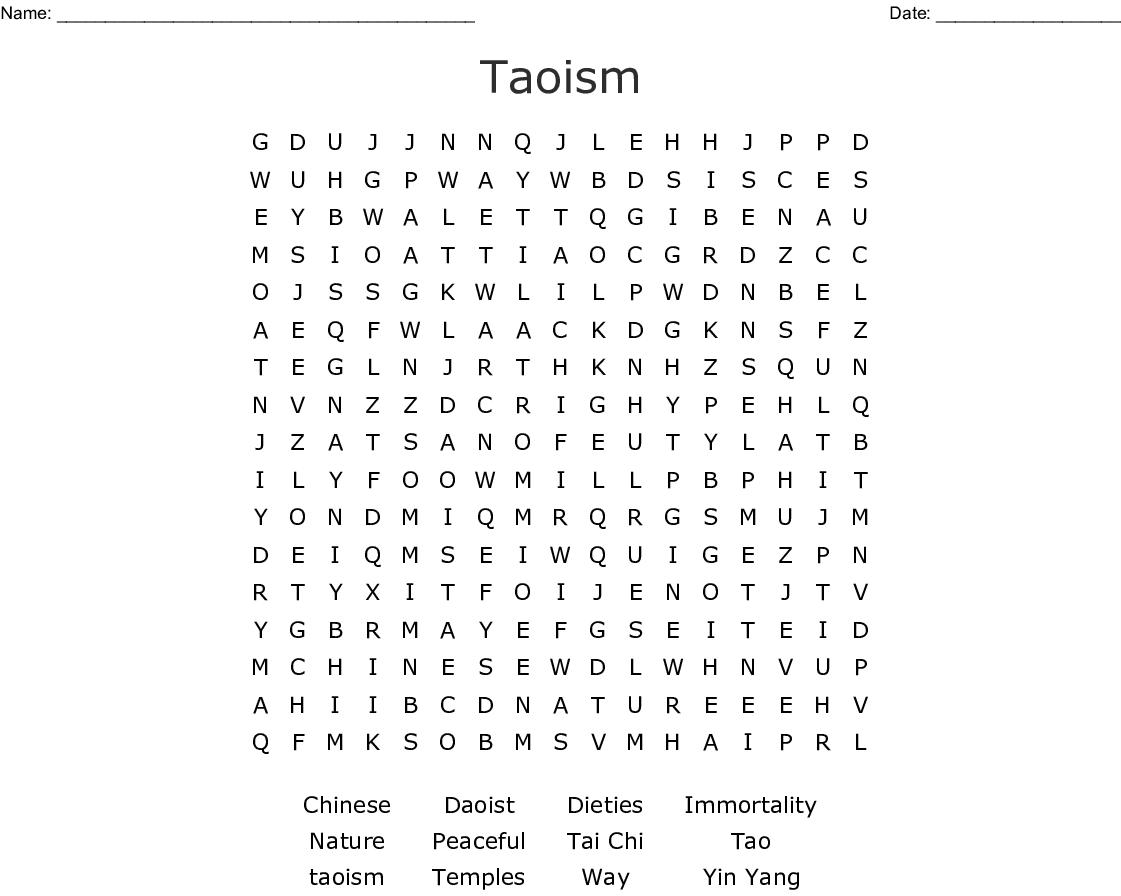 Taoism Word Search - WordMint