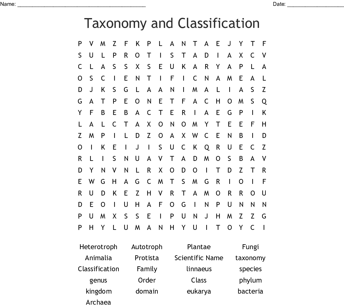 Taxonomy And Classification Word Search Wordmint