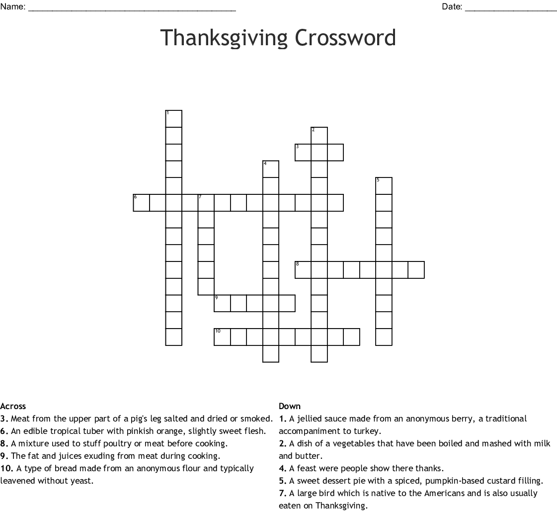 Thanksgiving Crossword Wordmint