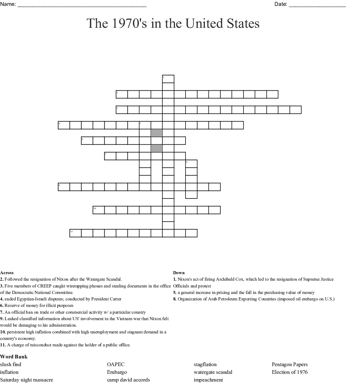 The Wars of Watergate Word Search - WordMint