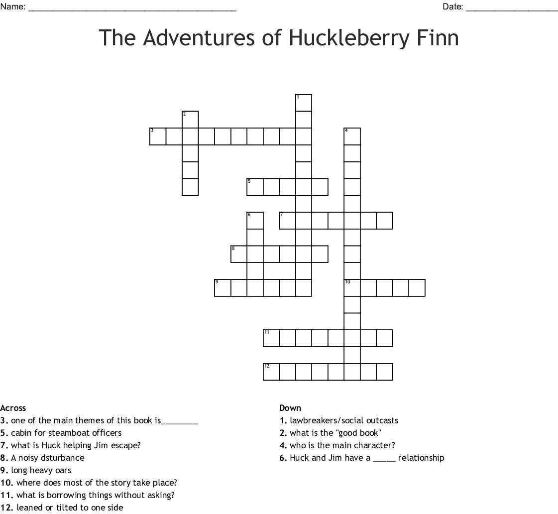 The Adventures Of Huckleberry Finn Crossword Wordmint