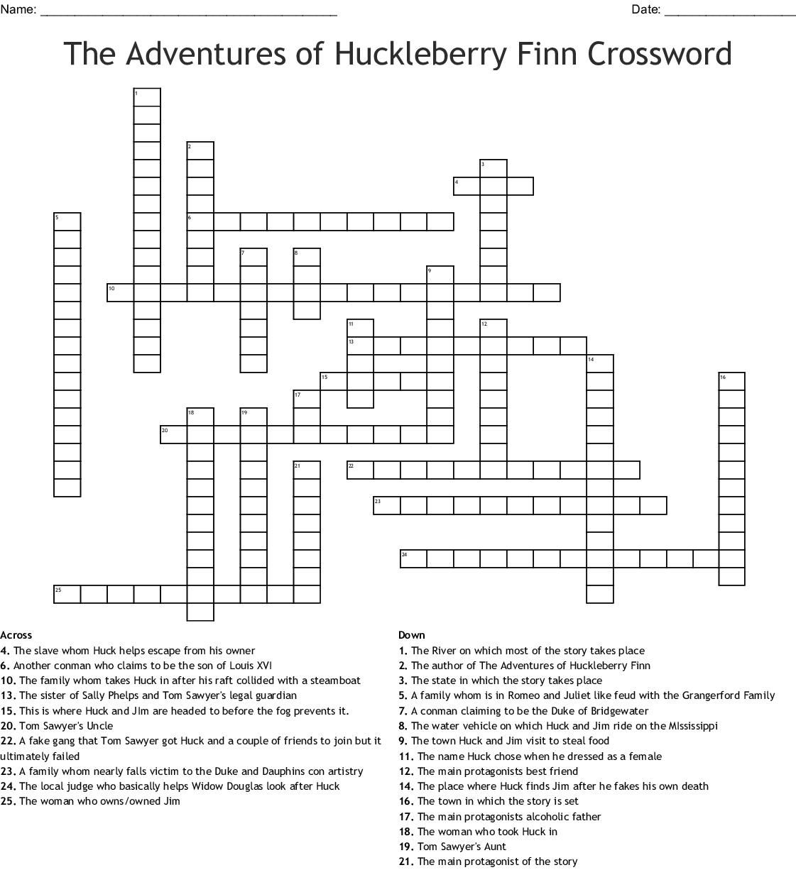 THE ADVENTURES OF HUCKLEBERRY FINN Crossword - WordMint