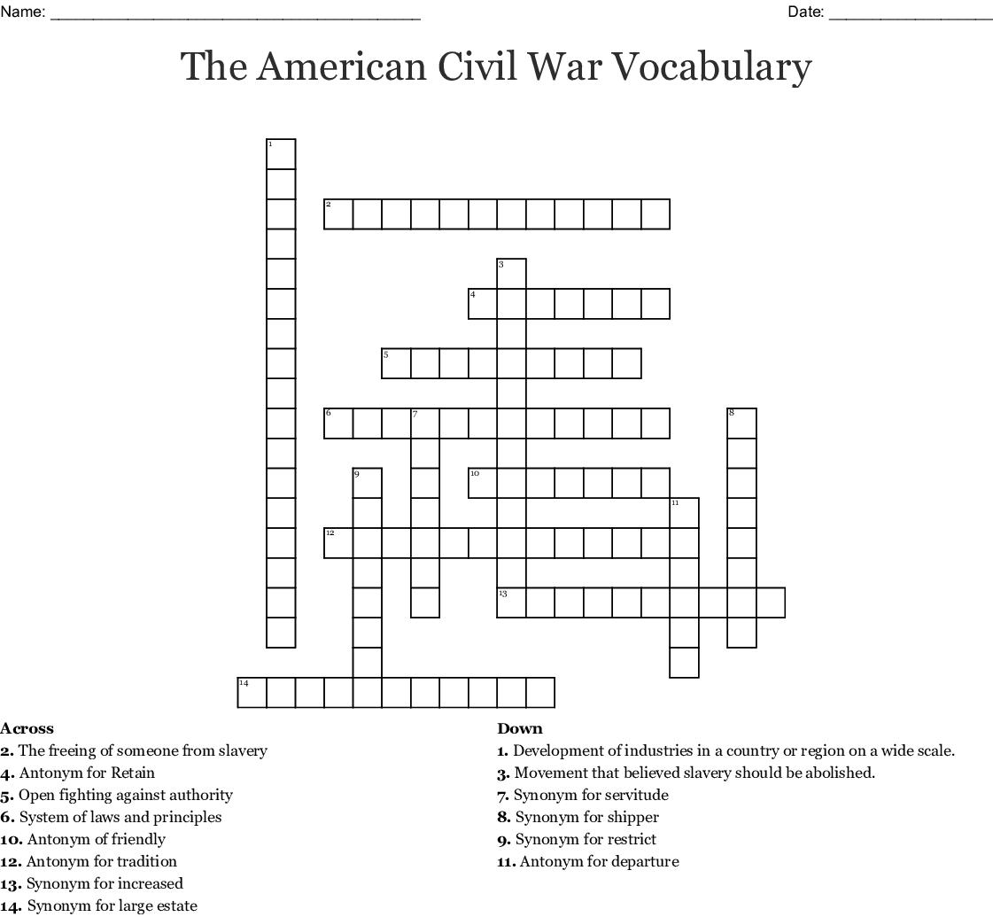 The American Civil War Vocabulary Crossword - WordMint
