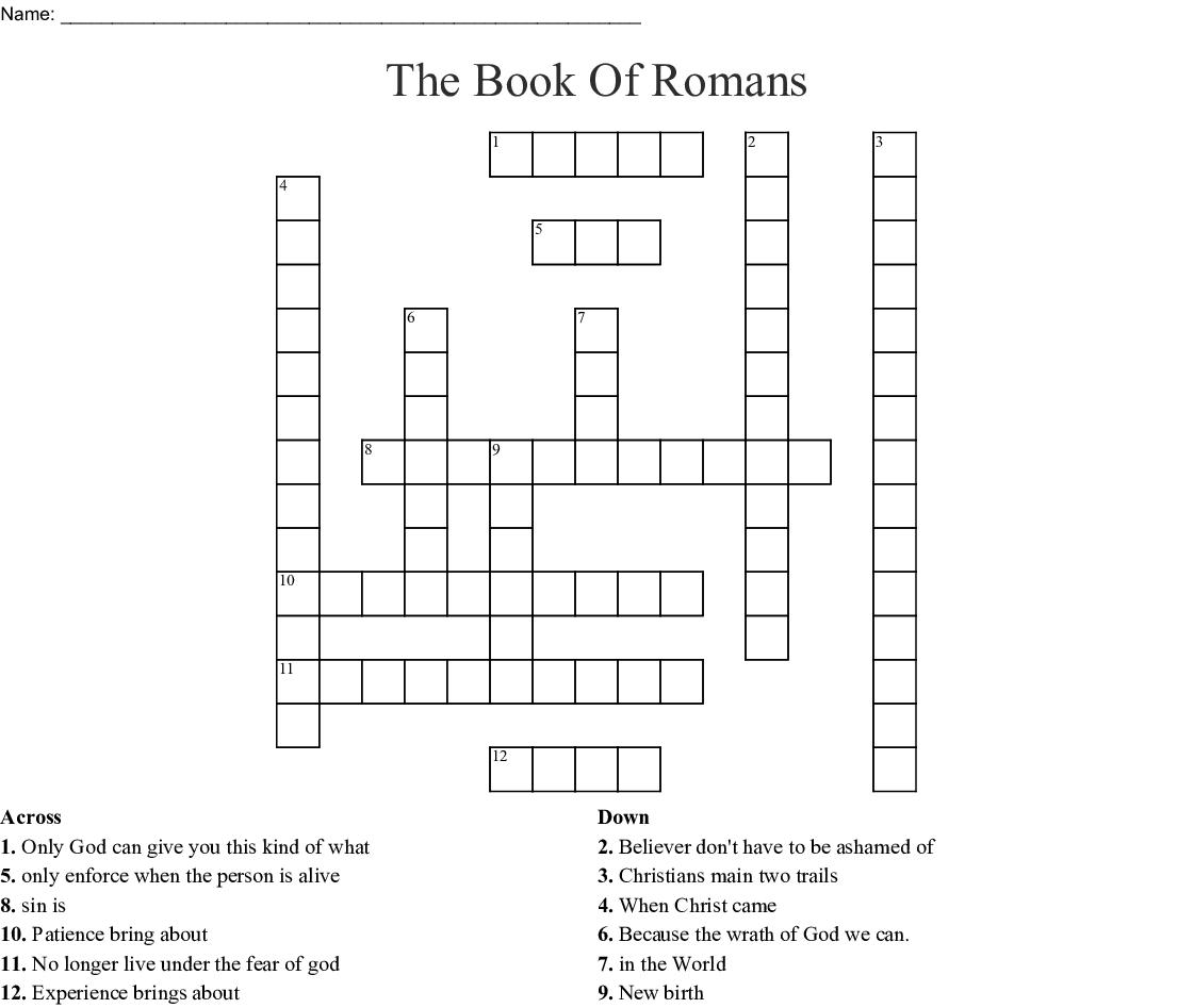 The Book Of Romans Crossword Wordmint