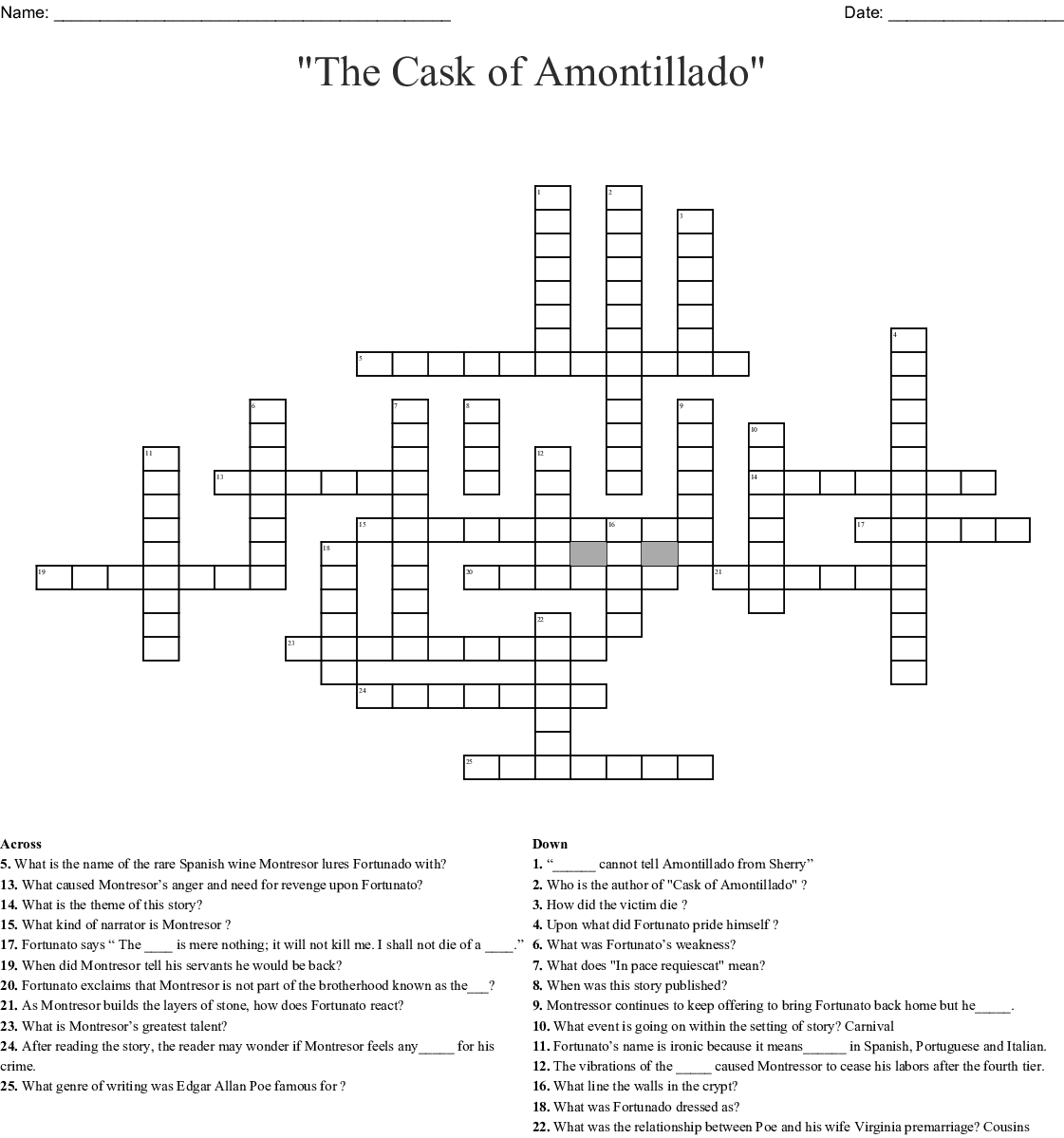 """The Cask Of Amontillado Worksheet   Shared by   Szzljy besides Cask of Amontillado by Edgar Allan Poe questions  literary elements moreover Cask of Amontillado   Mrs  Bradley's Clroom in addition Critical essay the cask of amontillado in addition  likewise The Cask Of Amontillado Worksheet Elegant Systematic Review Of moreover The Cask of Amontillado"""" by Edgar Allan Poe additionally The Cask of Amontillado furthermore Edgar Allan Poe Worksheets   Siteraven also  likewise  besides The Cask of Amontillado Worksheet for 9th Grade   Lesson Pla as well Cask of Amontillado Foreshadowing and Irony besides The Cask Of Amontillado Plot Diagram – Article Summary Worksheet besides The Cask of Amontillado  Crossword   WordMint together with Stylistic ysis of the Cask of Amontillado. on the cask of amontillado worksheet"""