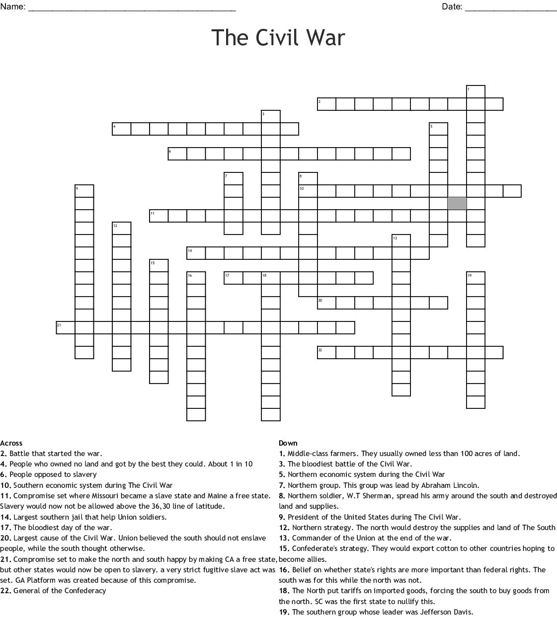 picture relating to Star Wars Crossword Puzzles Printable identify The Civil War Crossword - WordMint