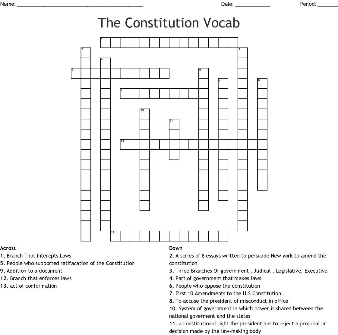 Answer Key Judicial Branch In A Flash Crossword Answers ...