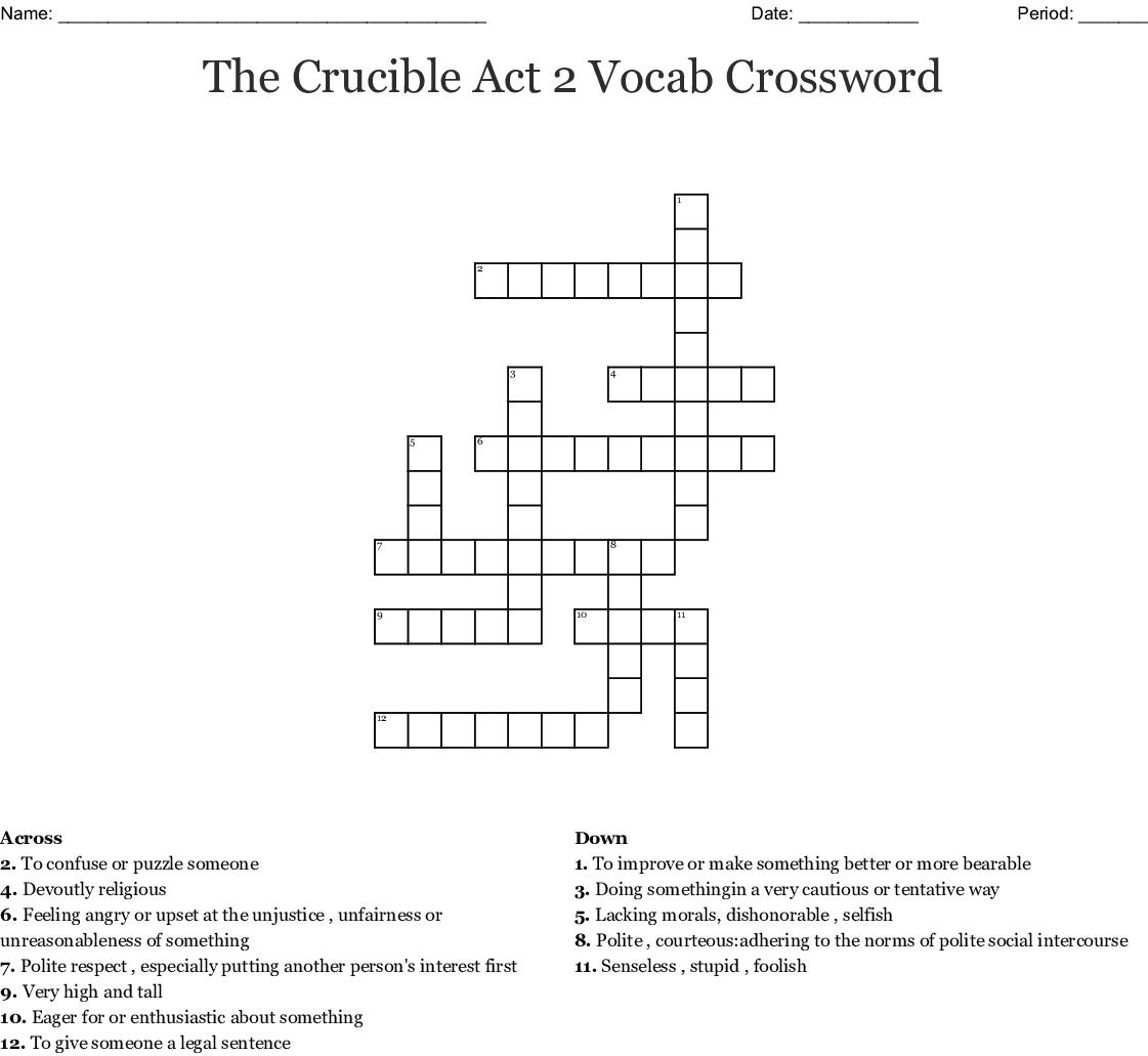 Tone Words Crossword Puzzle Wordmint