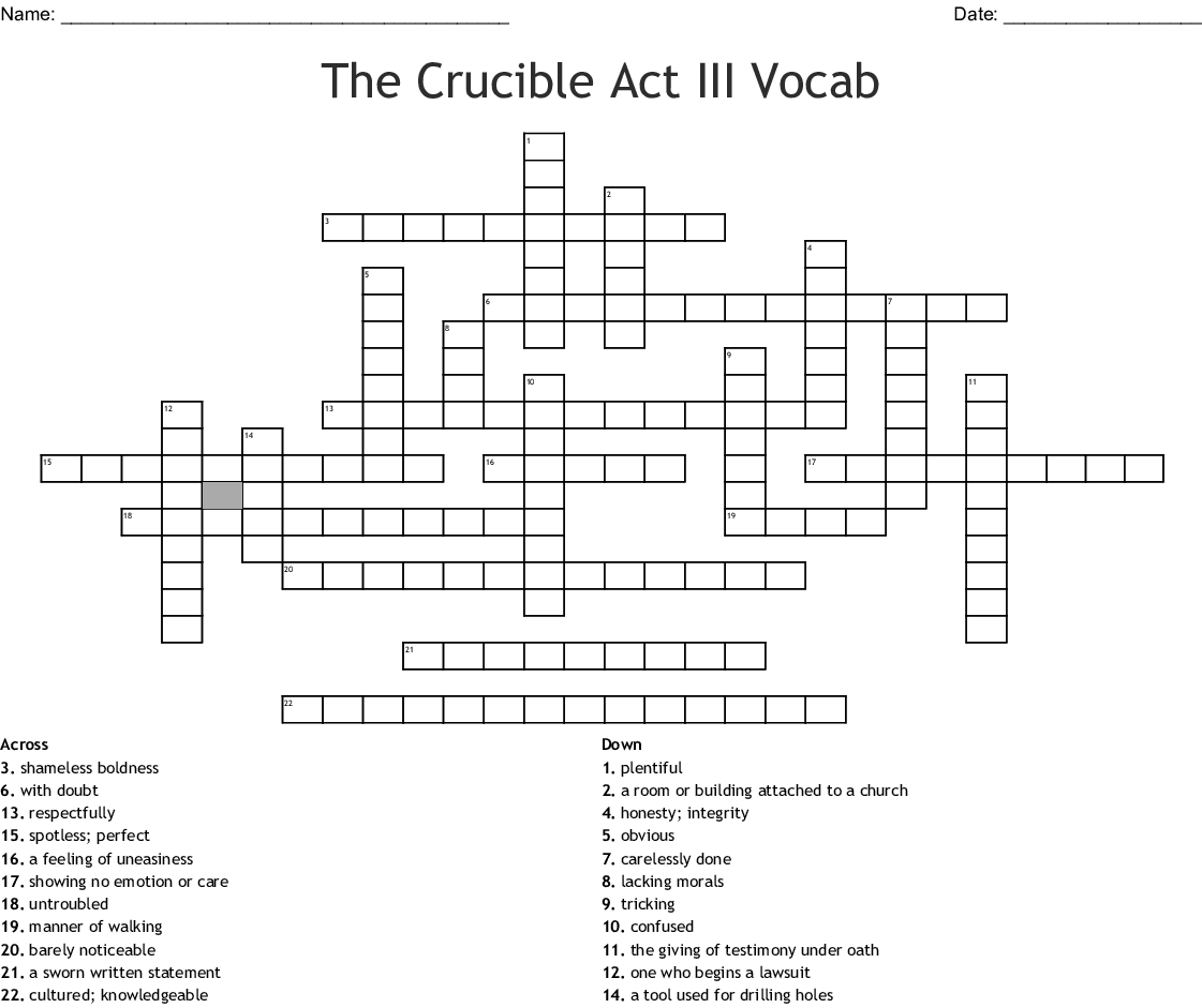 The Crucible Act Iii Vocab Puzzle Crossword Wordmint