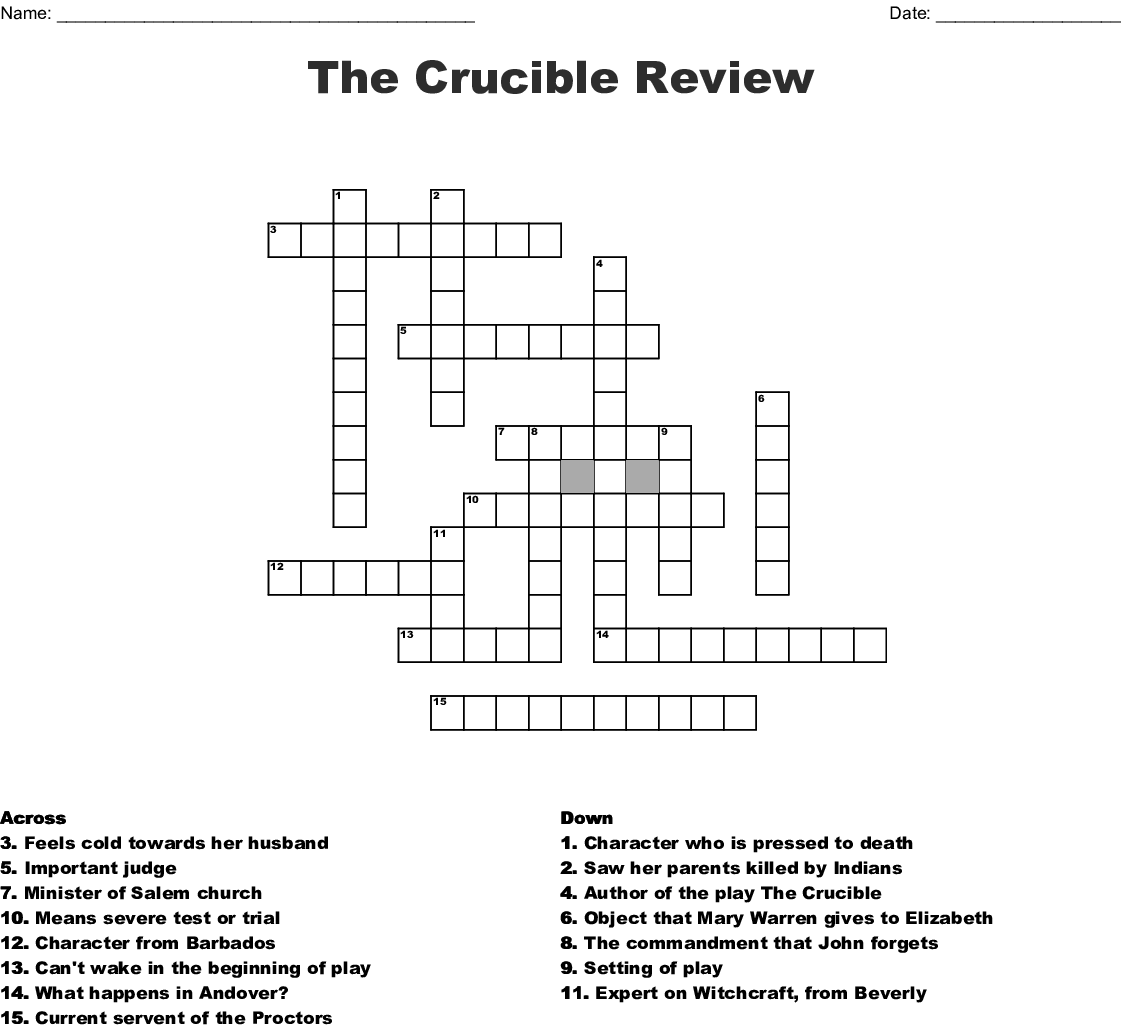 The Crucible Crossword - WordMint
