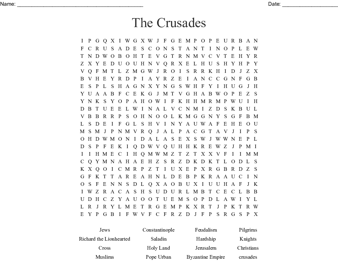 The Crusades Word Search Wordmint