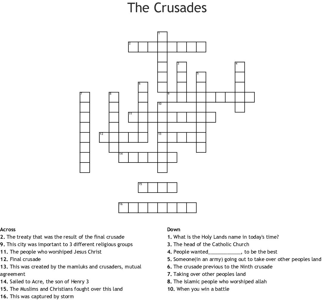 The Crusades Crossword Wordmint