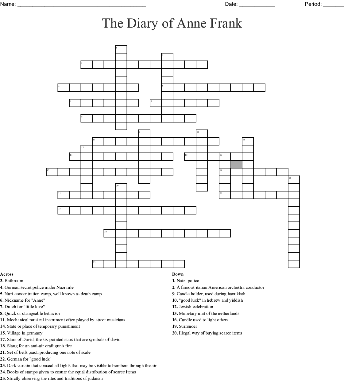 The Diary of Anne Frank Vocabulary Crossword - WordMint