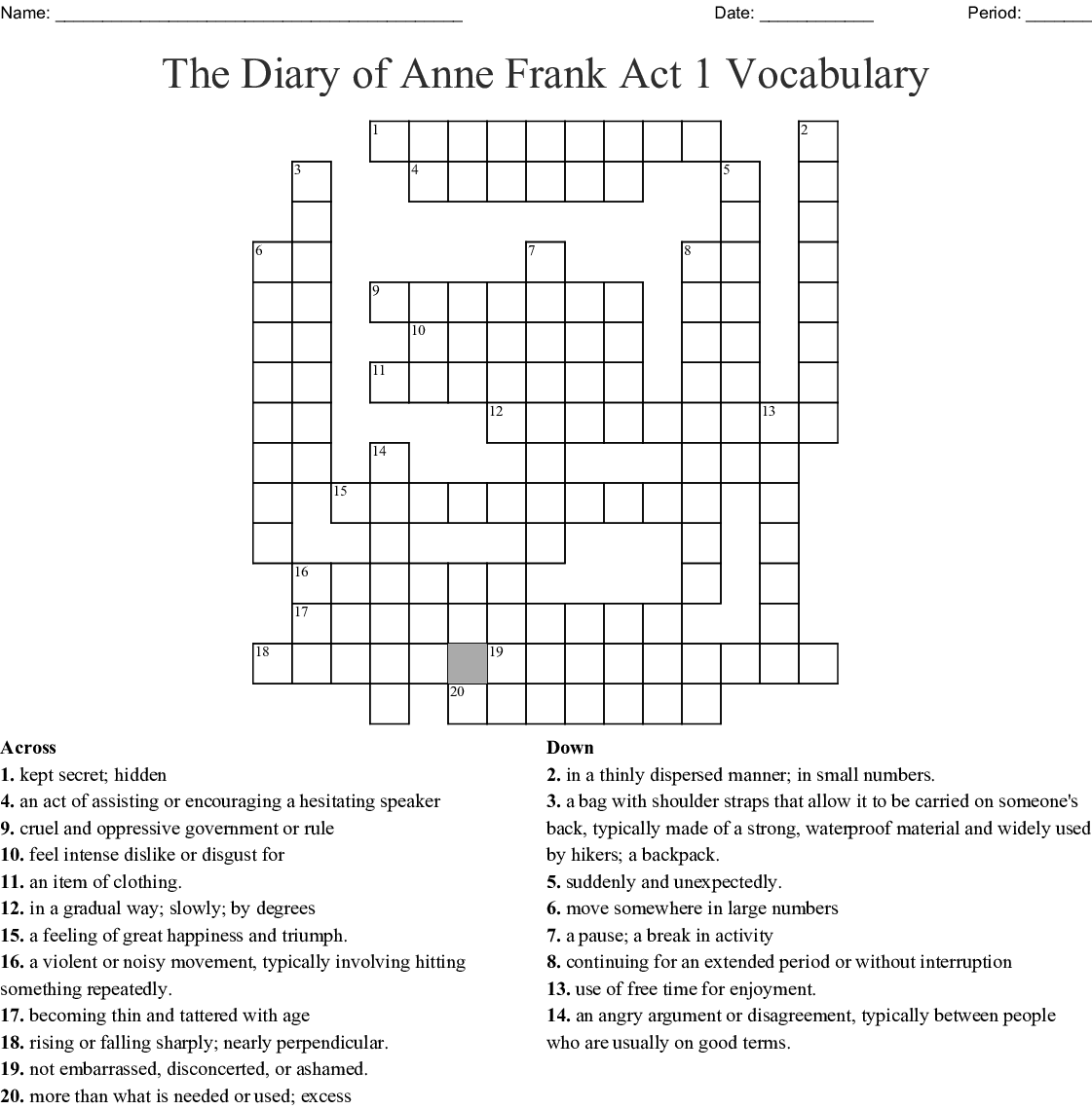The Diary of Anne Frank Word Search - WordMint