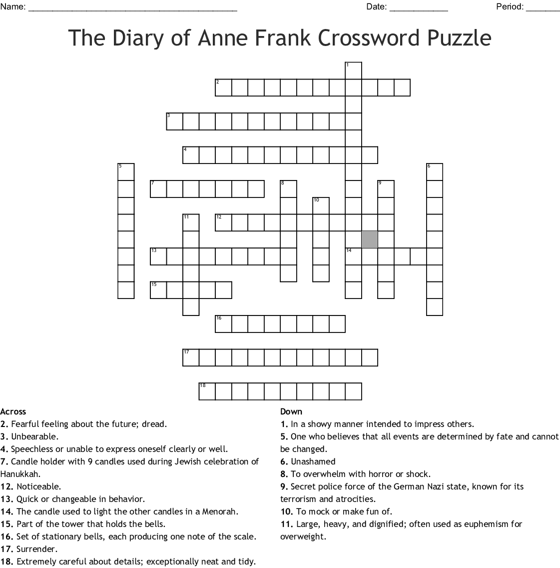 The Diary Of Anne Frank Word Search Wordmint