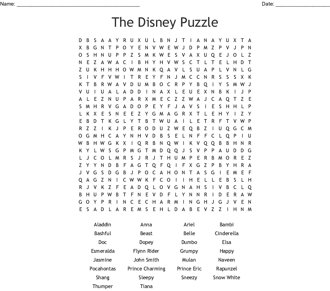 disney princess Word Search - WordMint