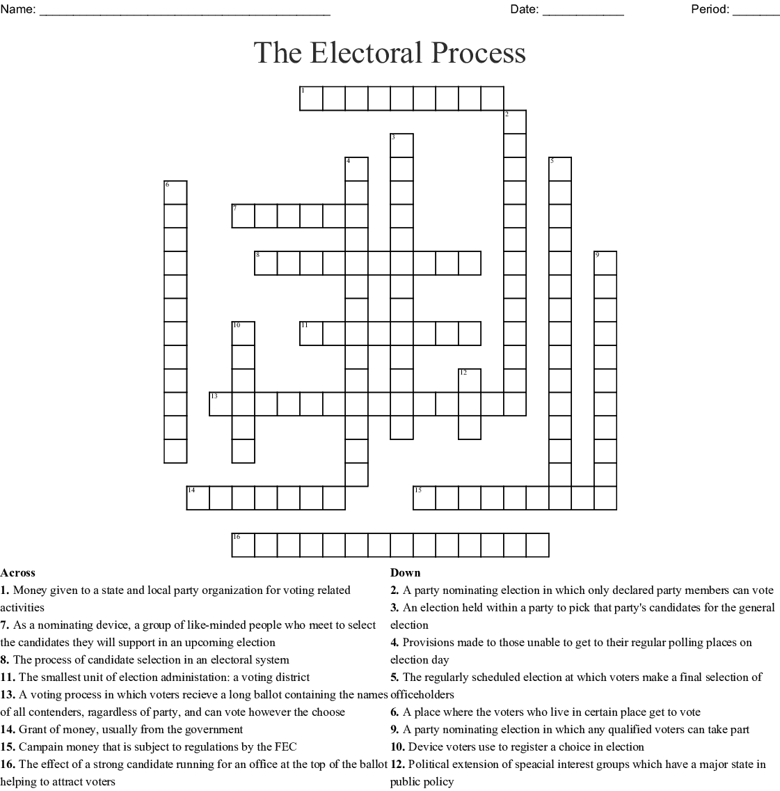 Advanced Government Elections And Campaigns Crossword Wordmint