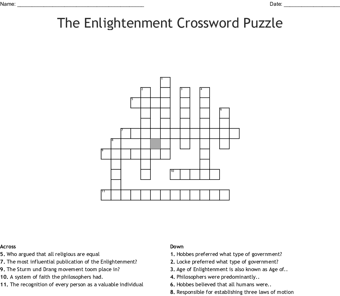 The Enlightenment Crossword Puzzle Crossword Wordmint