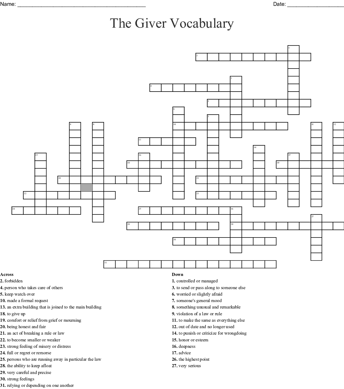 The Giver Vocabulary Crossword Wordmint