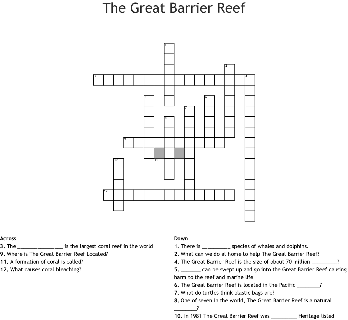 Great Barrier Reef Crossword - WordMint