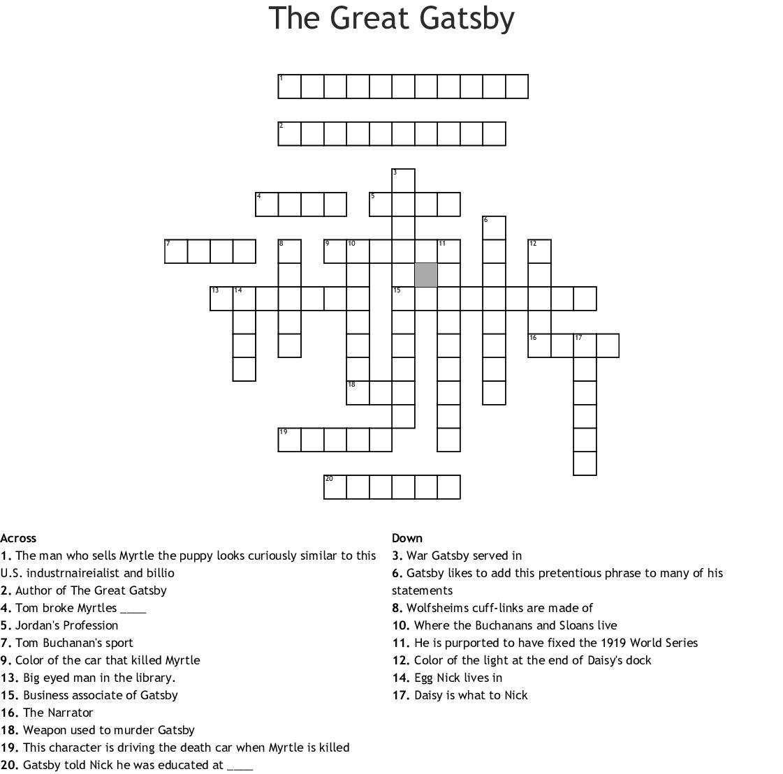 The Great Gatsby Crossword - WordMint