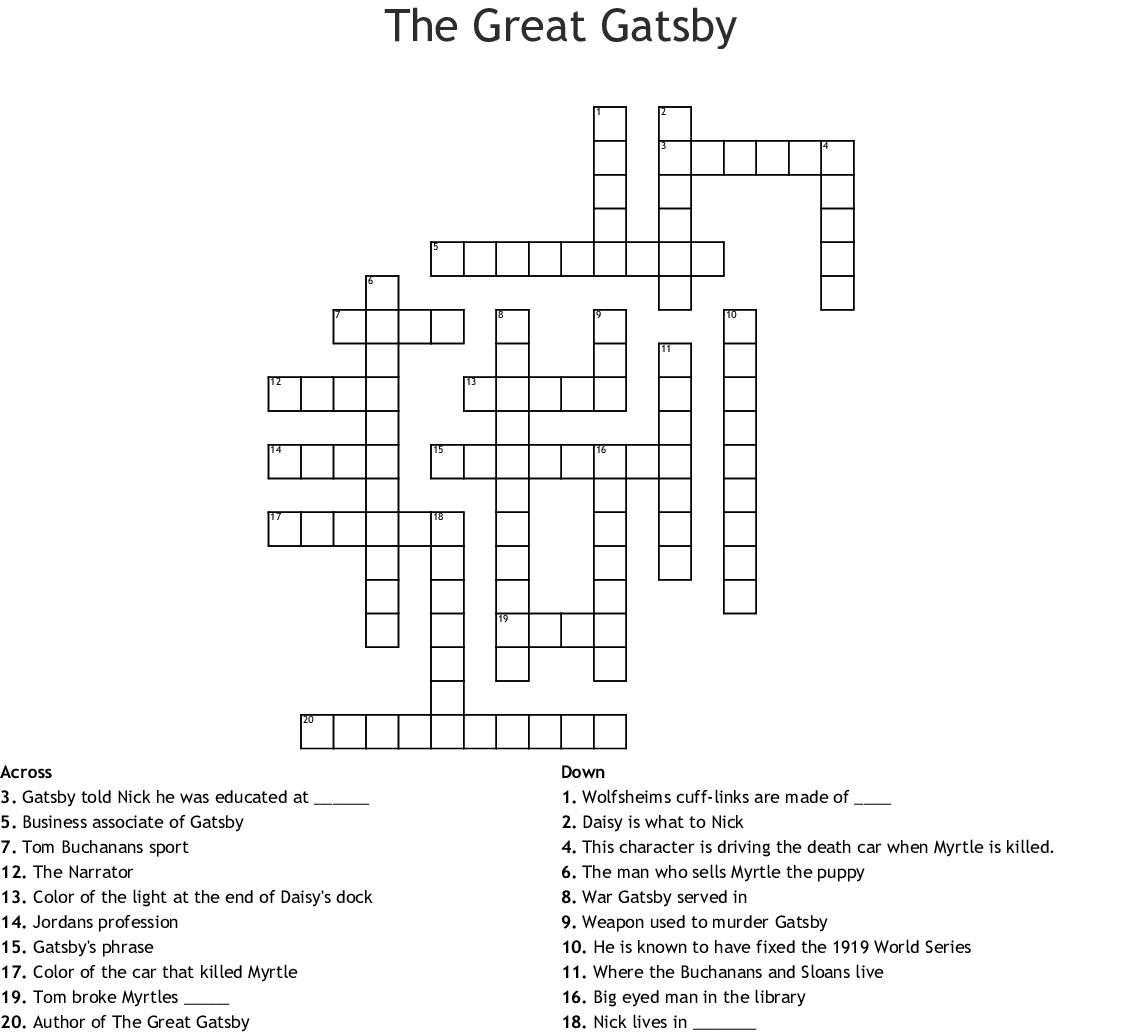 The Great Gatsby Ch 4 Crossword - WordMint